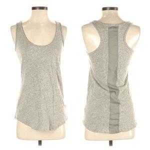 CAbi 100% Cotton Knit Tank Top Grey Chiffon Stripe